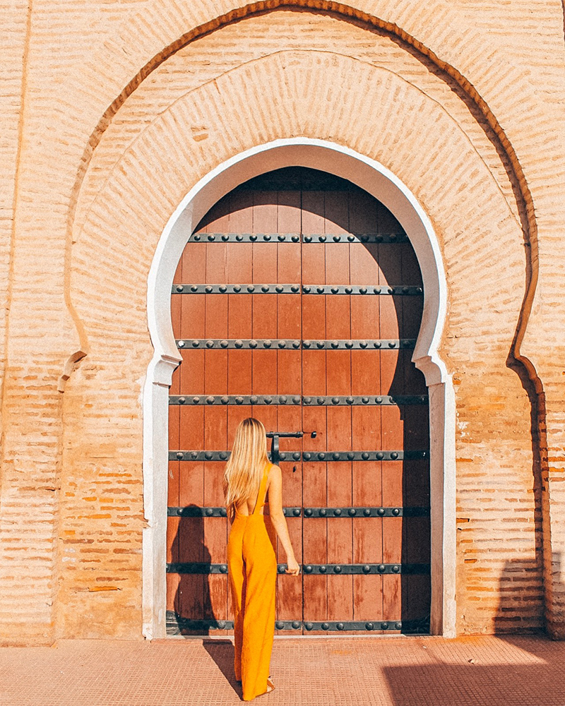 Me stood outside a doorway in Marrakech