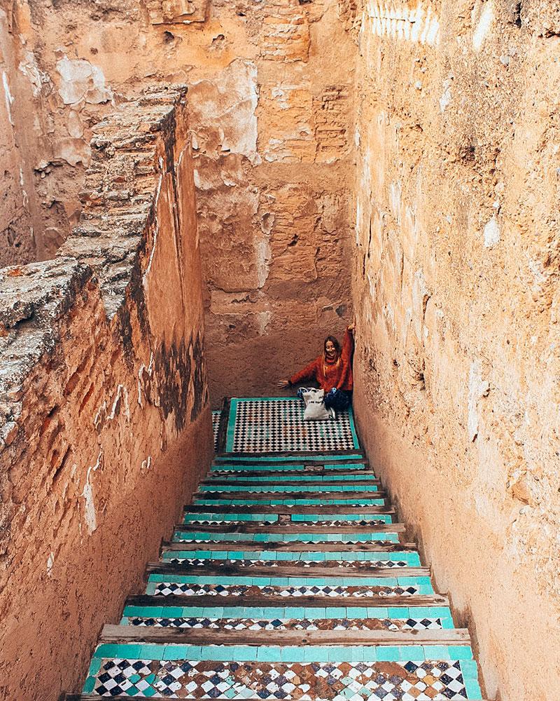 Palais El Badi - crumbly orange stairs in Marrakesh