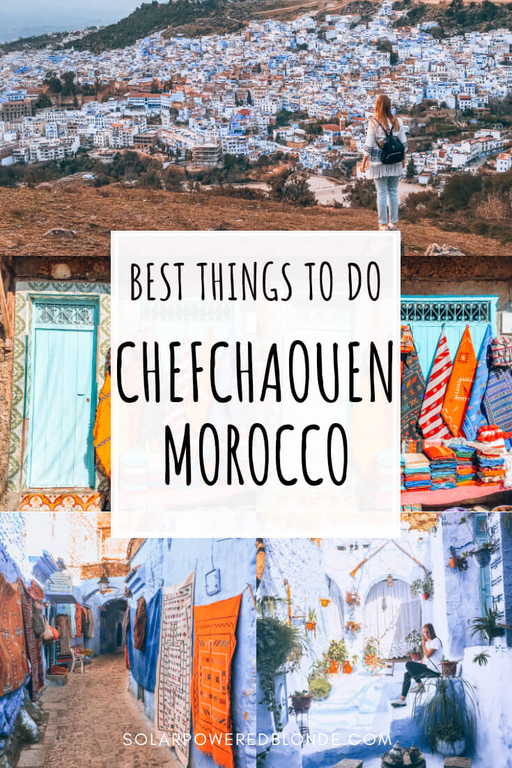 Collage of photos from Chefchaouen the blue city of Moroco with text overlay