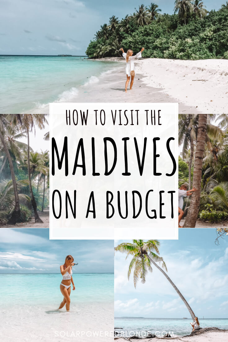 A collage of images from Omahdoo Island in the Maldives with text overlay for Pinterest