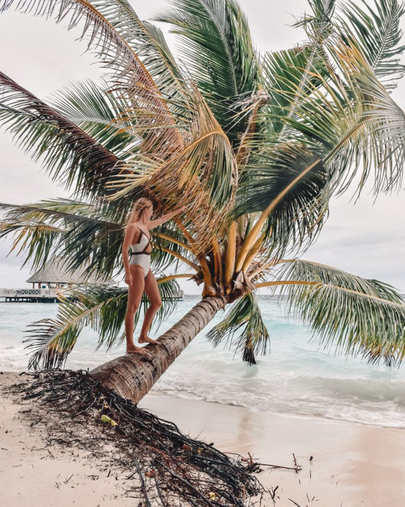 Me walking along a palm tree in the maldives