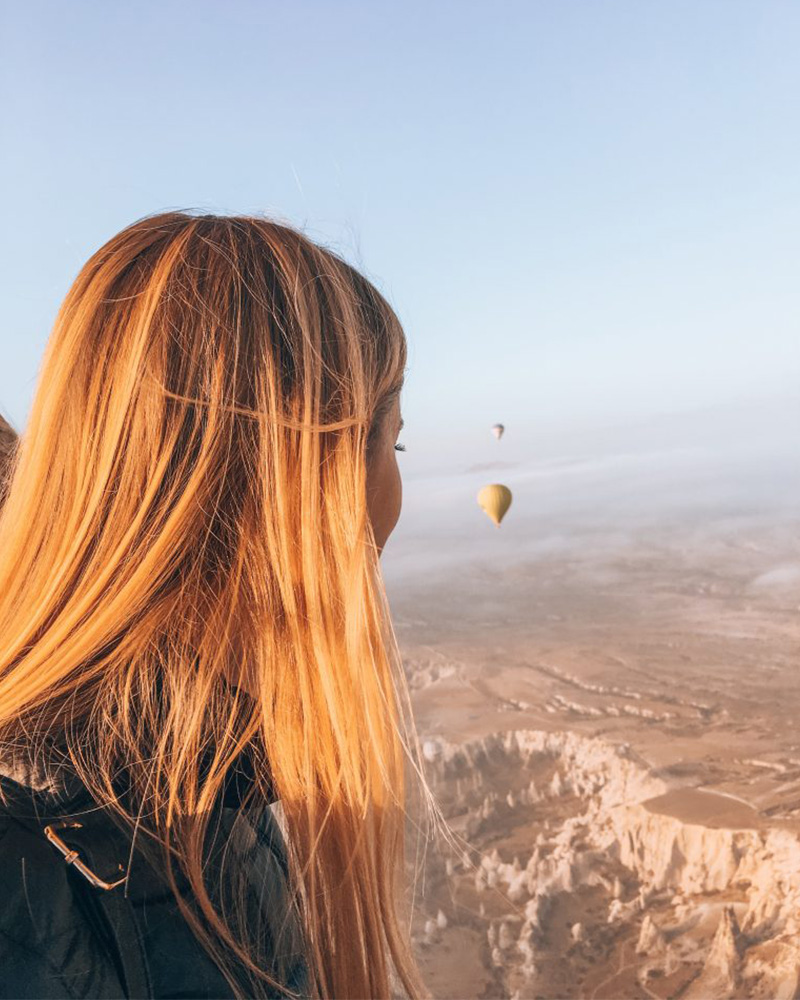 Me looking out from the hot air balloon