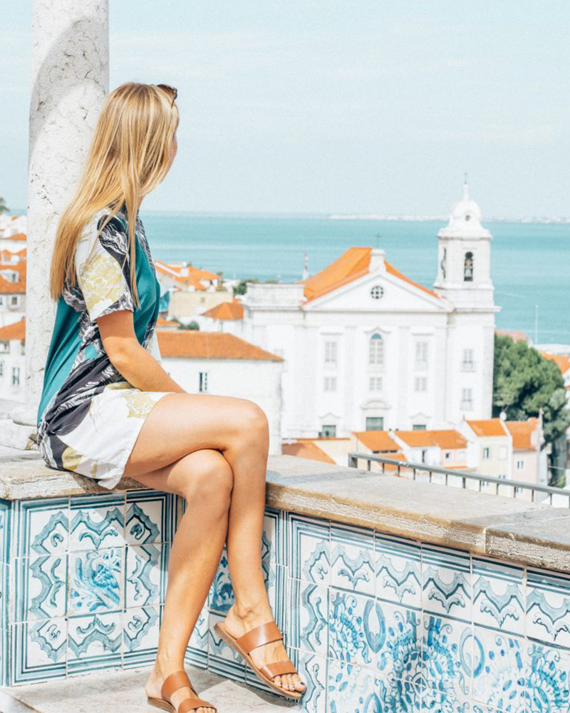 Me sat on the viewpoint overlooking Lisbon - worth visiting!