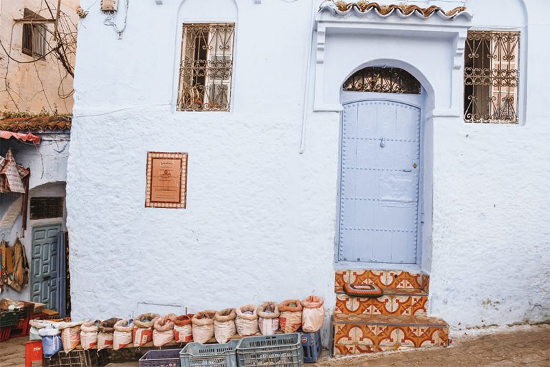 A blue doorway in Chefchaouen