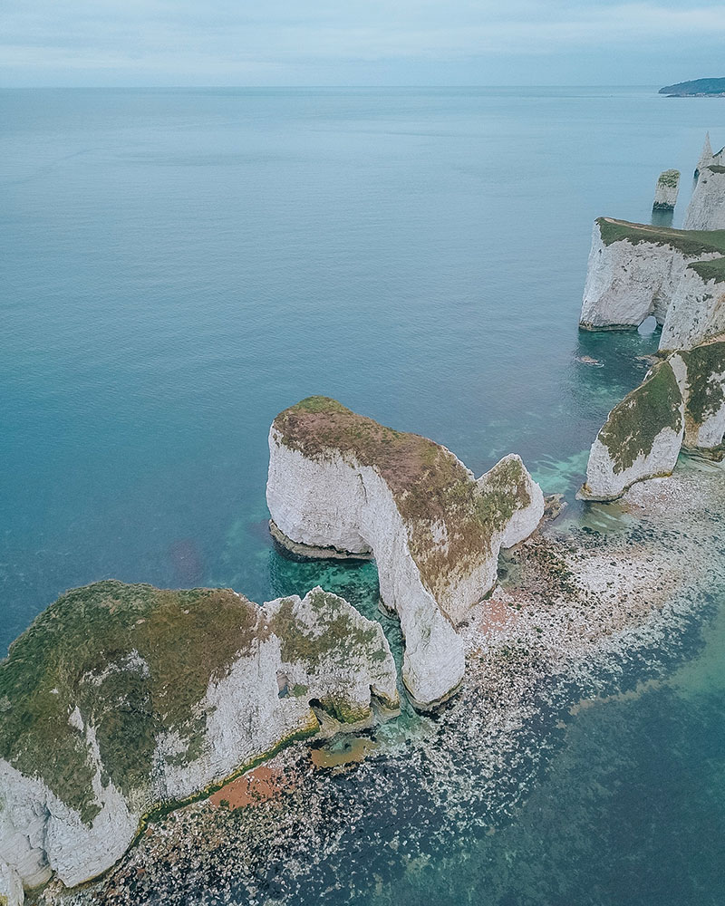 Drone shot of rocks from above at old harry Rocks in Dorset at winter