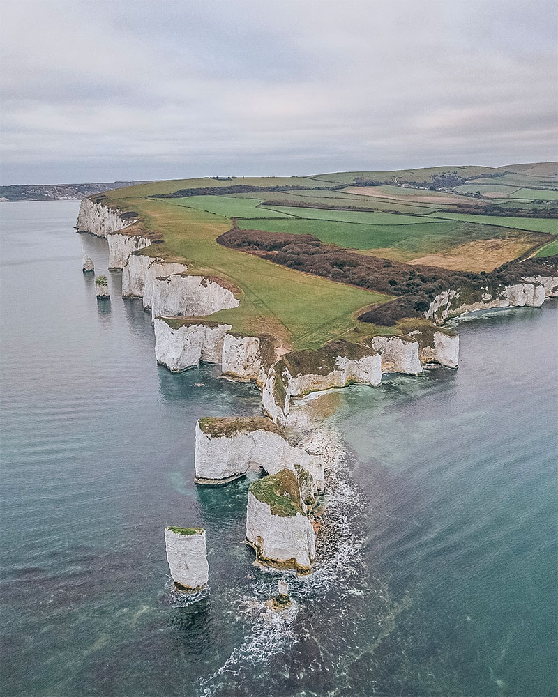 Old harry Rocks from above in Dorset in winter