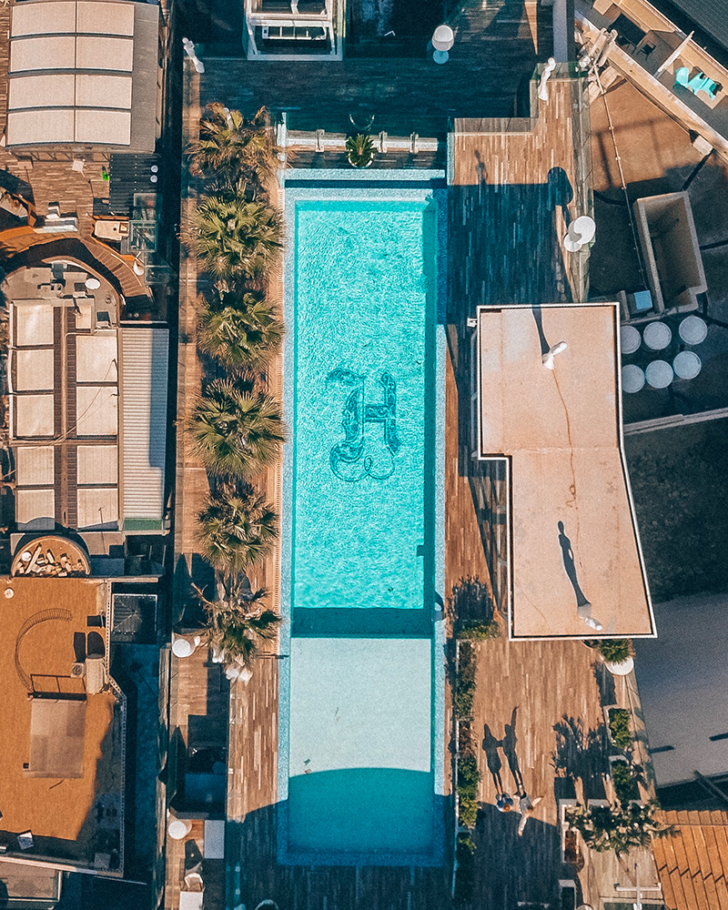 Drone shot of Hugo's Hotel in Malta, with the rooftop pool visible
