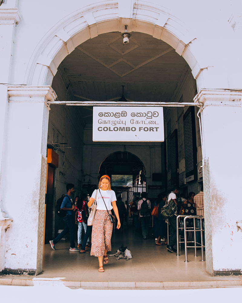 Me walking through the train station - what to wear in Sri Lanka