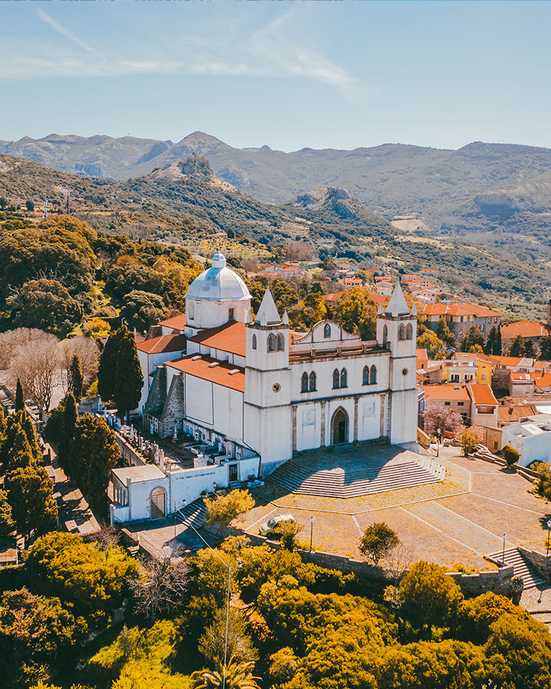 A basilica in Sardinia, taken with a drone