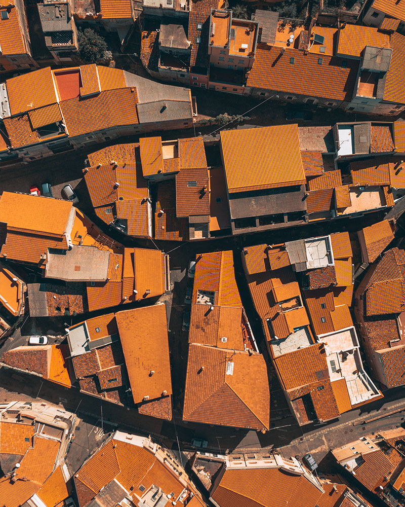Top down photo with the drone of a town in Sardinia