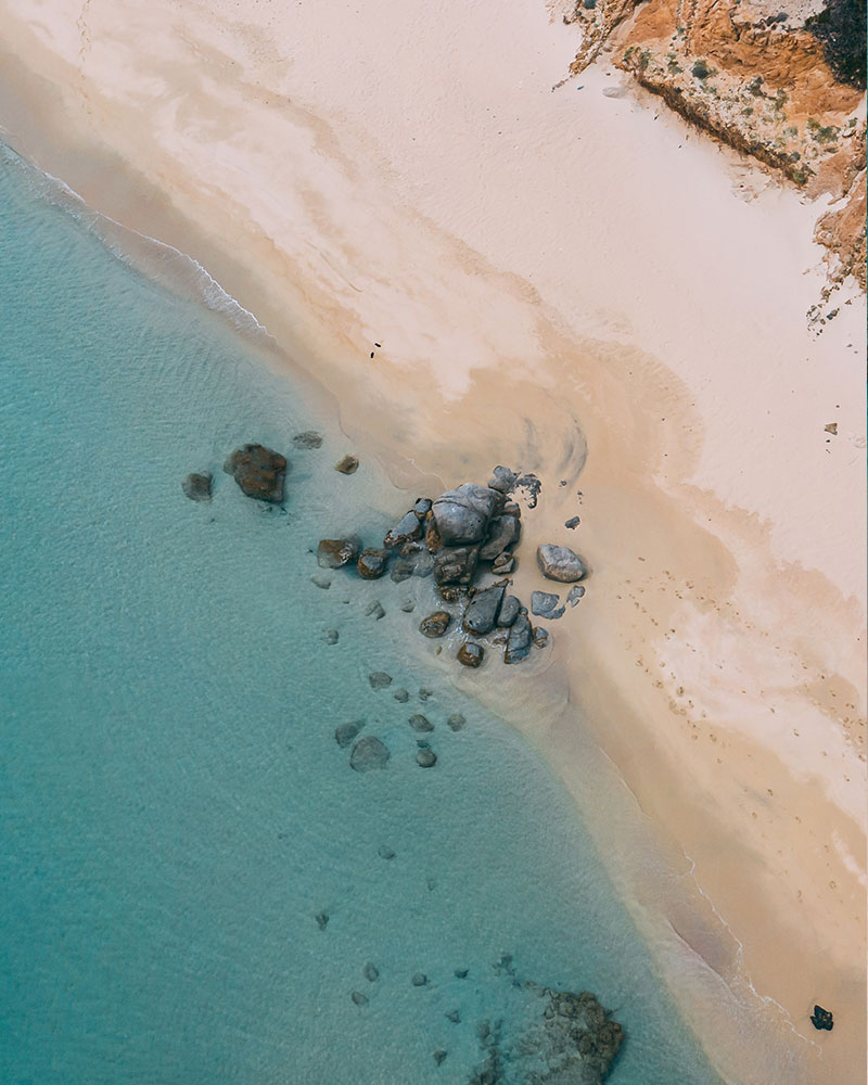 Drone shot of the beach in Sardinia