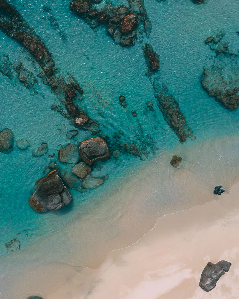 Top down drone shot of the beach in Sardinia