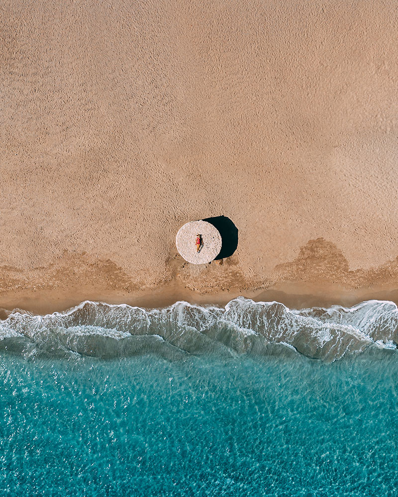Top down drone shot of me on the beach
