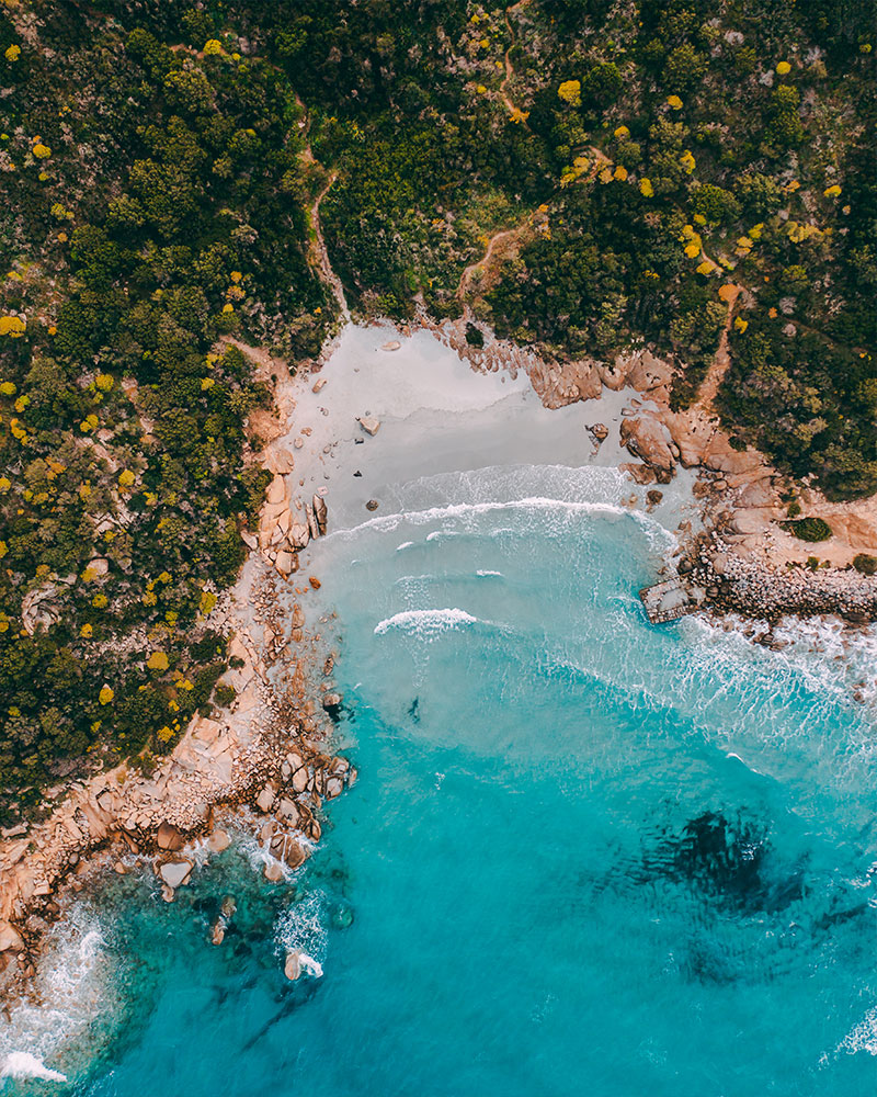 Drone shot of a small bay in Sardinia