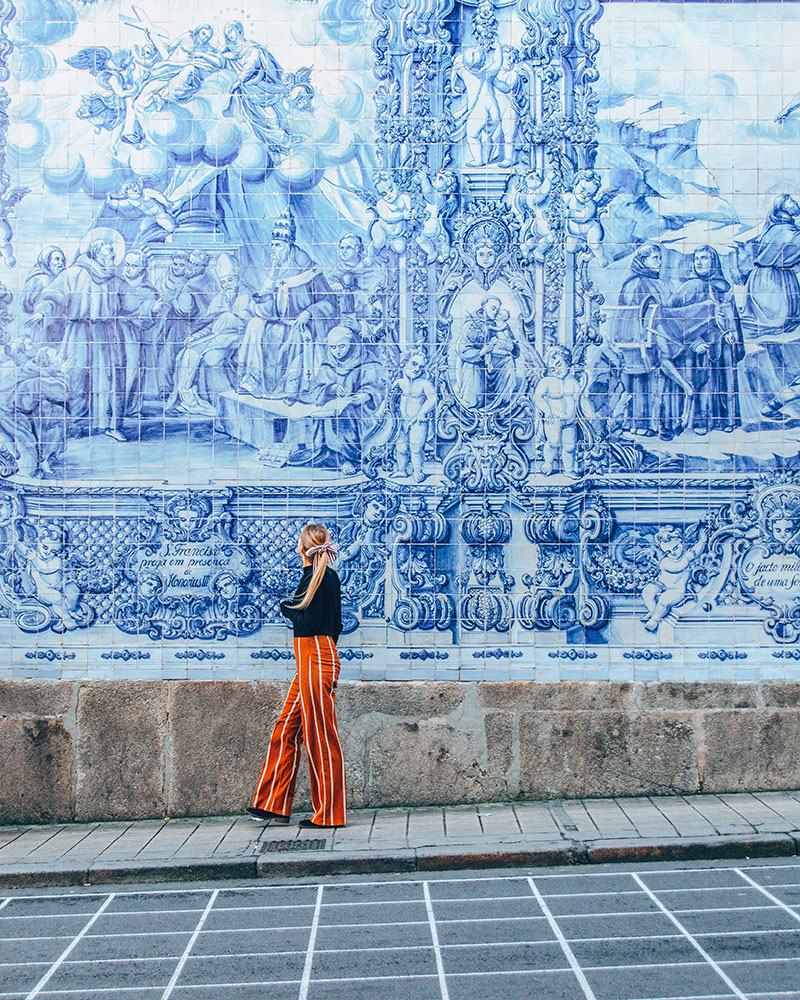 Blue tiled wall behind me - instagrammable spots in Portugal!