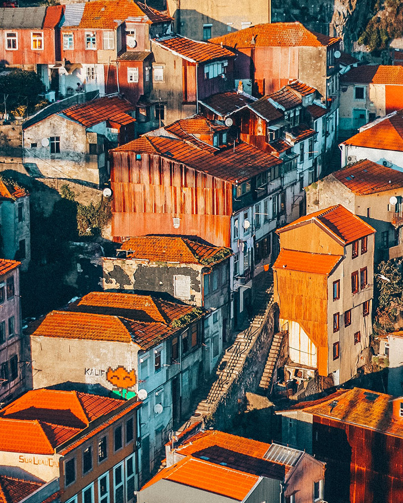 How to spend 3 days in Porto - orange roofs from above