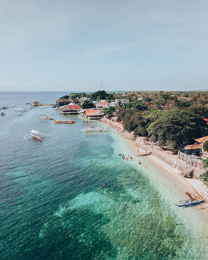 View of the beach with the drone in Cebu, Philippines