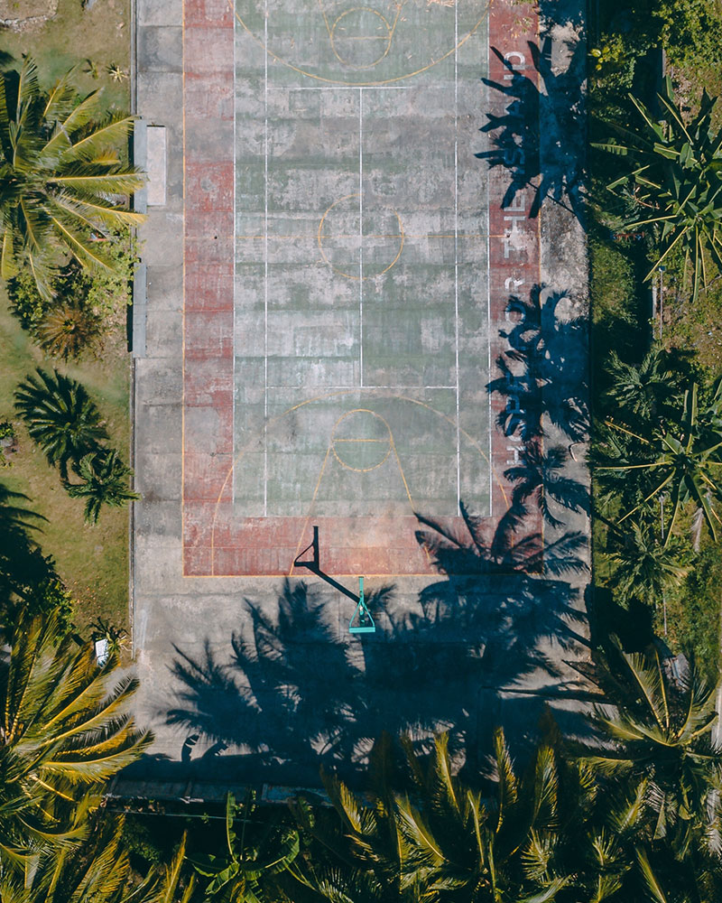Top down drone shot of a basketball court in Siargao