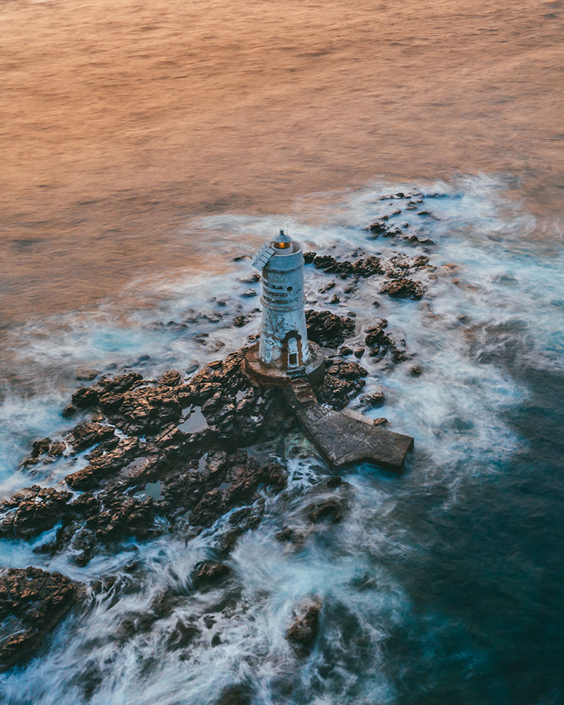 Lighthouse in Sardinia, drone shot
