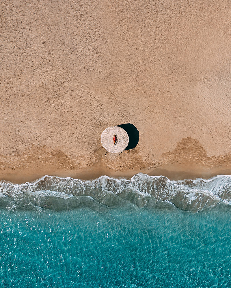Beach in Sardinia from above with the drone