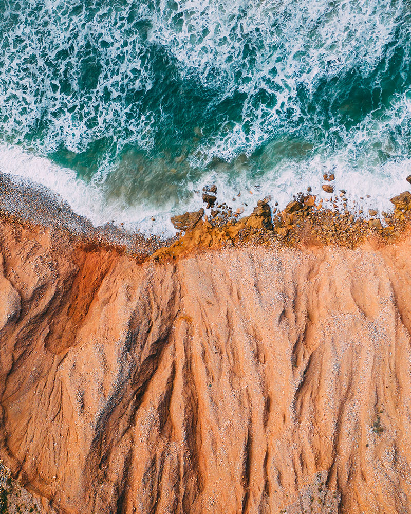 Drone shot at the beach in sardinia