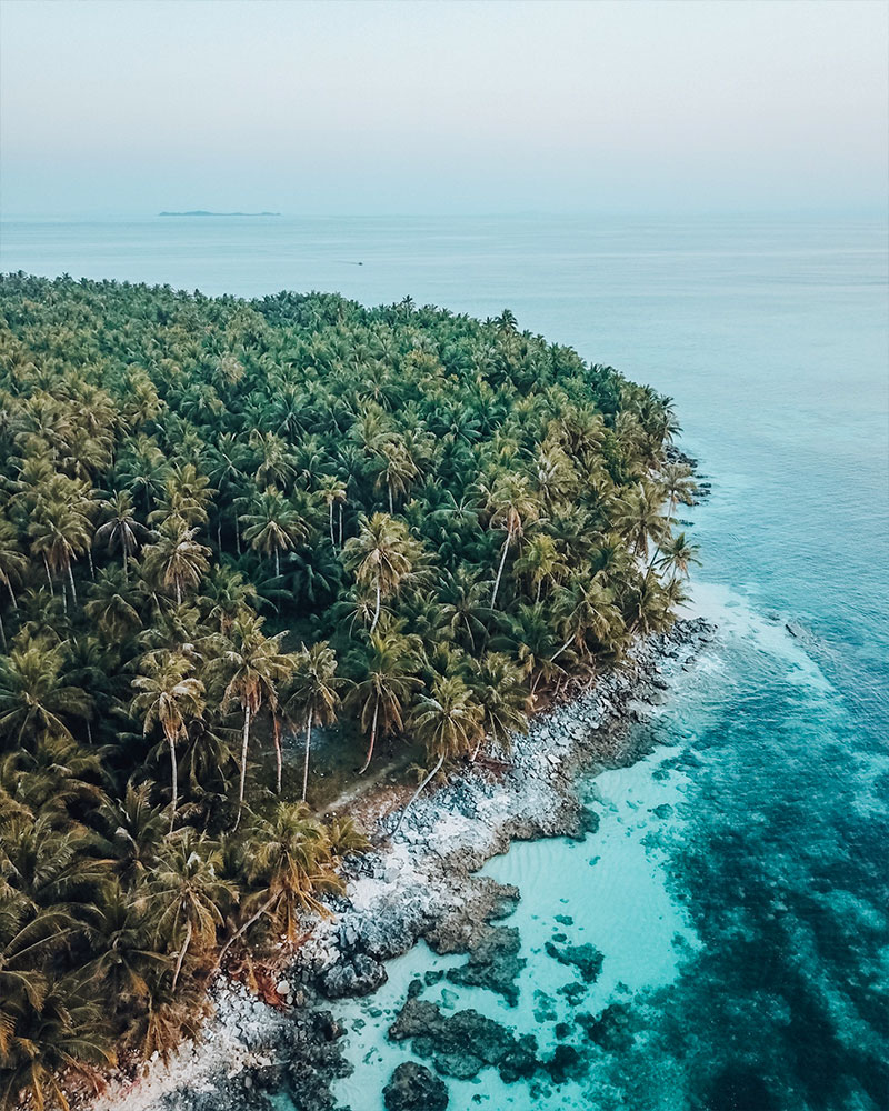 Drone shot of a small island off Siargao