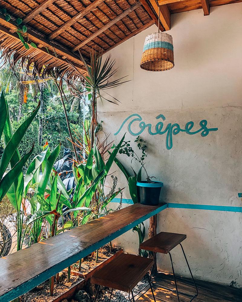 Crepe restaurant interior in Siargao