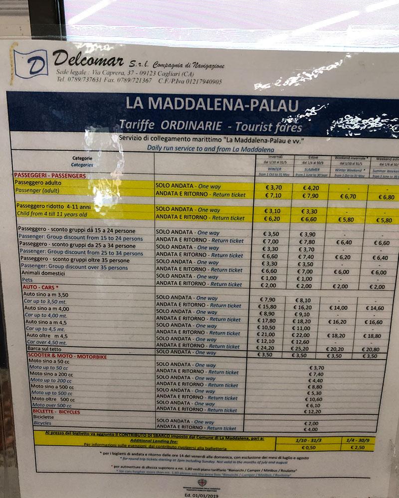 Boat times to la Maddalena Island