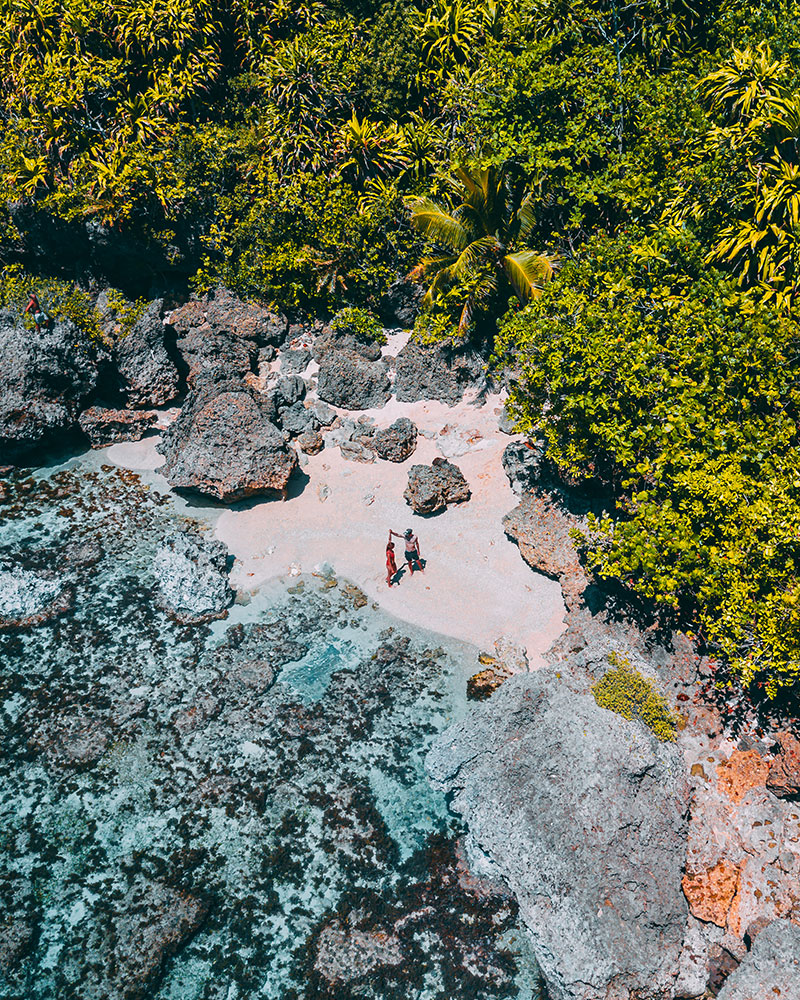 Me and Boyan on the beach - drone shot in Siargao