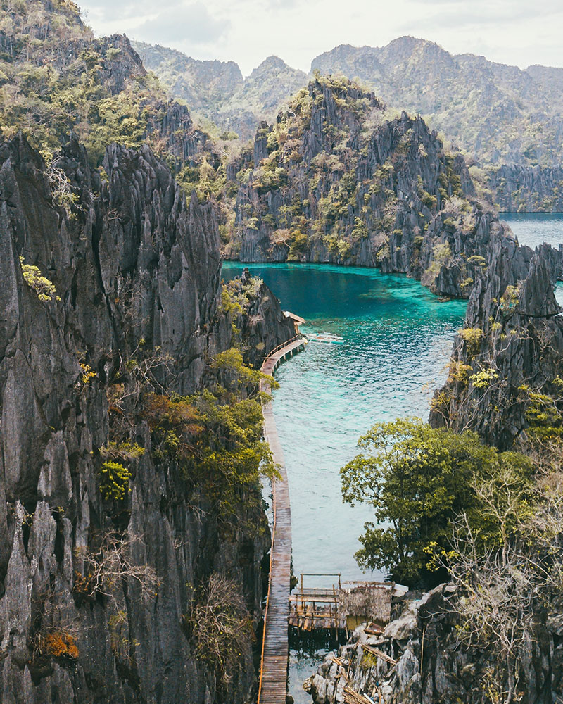 View over Twin Lagoon from the drone in Coron, Philippines