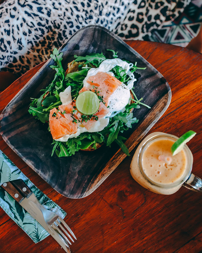 Breafkast at the Rolling Fork, poached eggs, salmon and a smoothie, Uluwatu, Bali, Indonesia