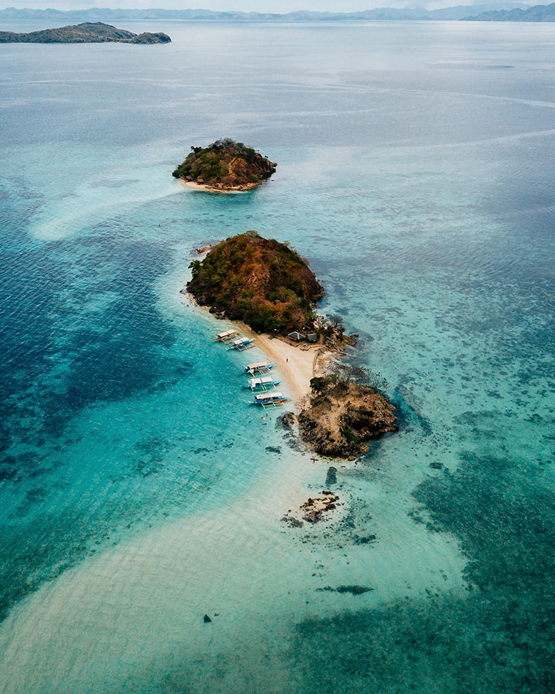 View from the drone over Bulog Dos Island in the Philippines, Coron Island
