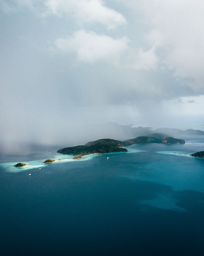 Storm coming in, drone shot from Coron Island in the Philippines