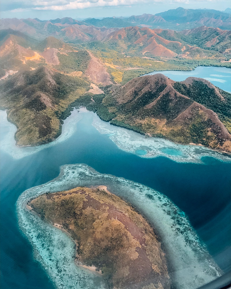 View over Coron, philippines, from above, a birds eye view