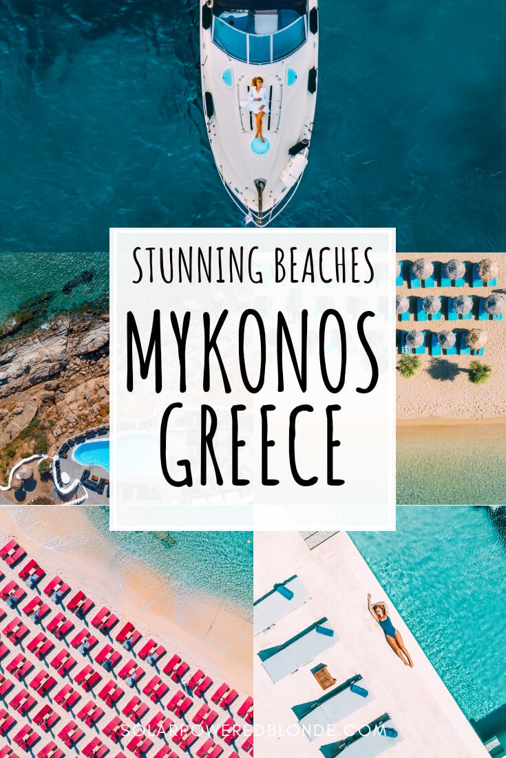 Images of beaches in Mykonos with text overlay