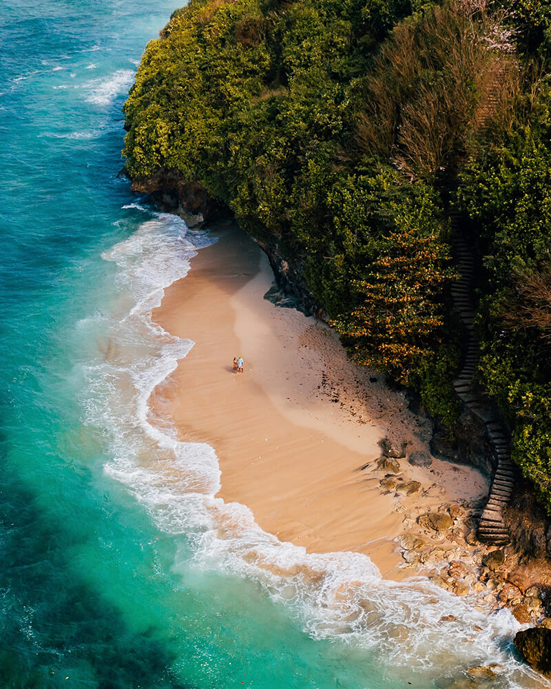 Drone shot of Green Bowl beach in Bali!