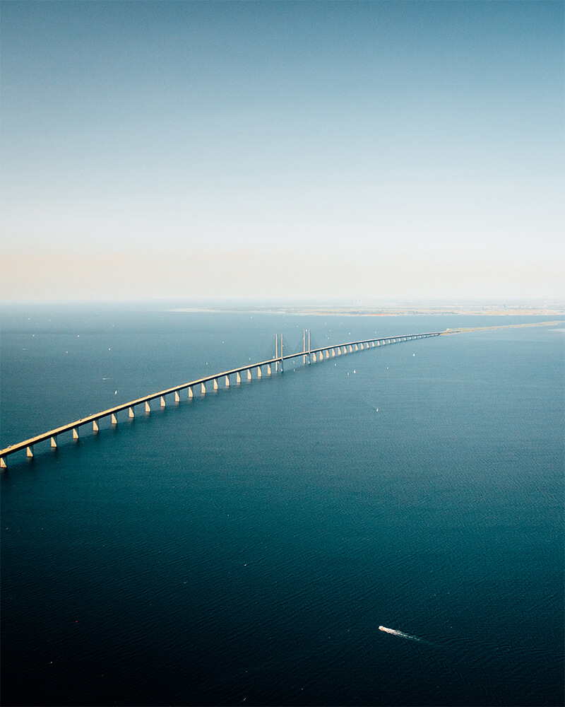Shot from a helicopter of Oresund bridge from Copenhagen to Malmo