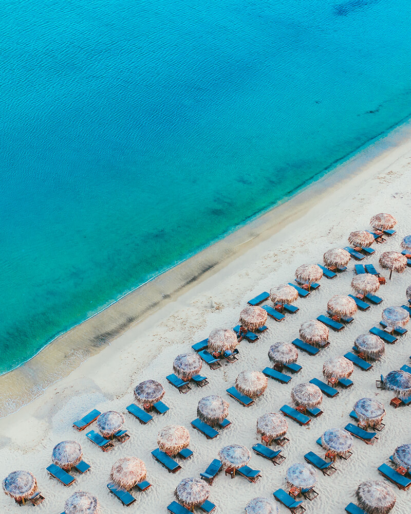 Kalo Livadi beach from the drone in Mykonos, Greece