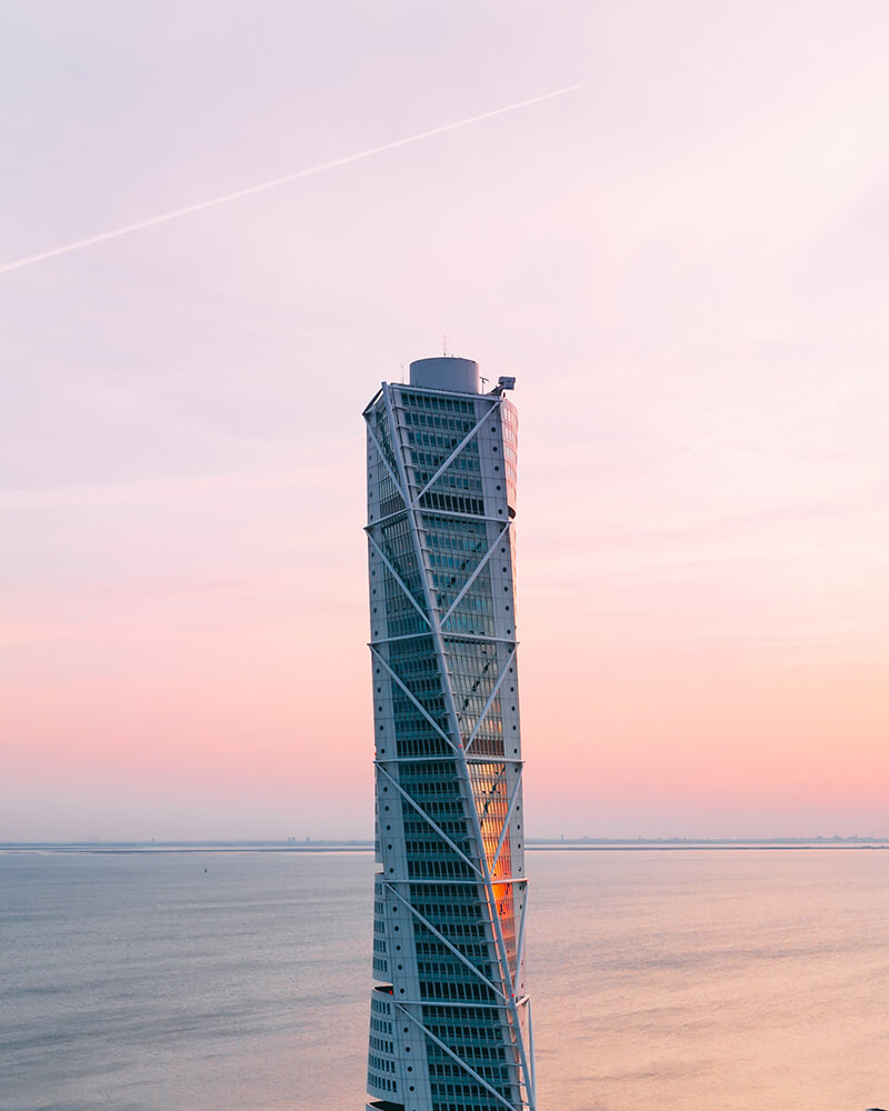 View of the Turning Torso with the drone at sunset