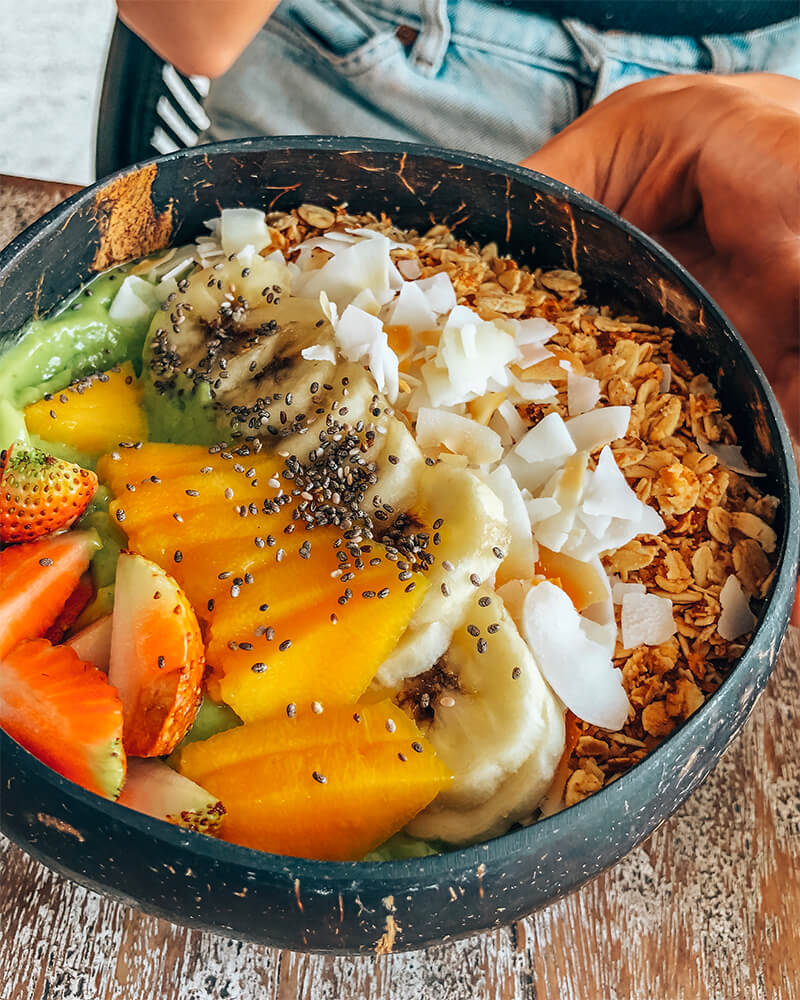 Lunch smoothie bowl at the avocado cafe,  in Canggu, Bali, Indonesia