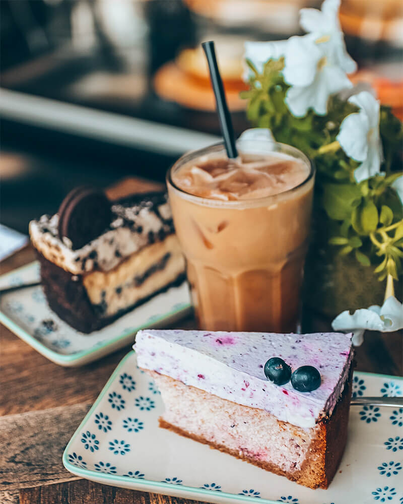 Cheesecake and ice coffee at Bertel Salon in Frederiksberg area in Copenhagen