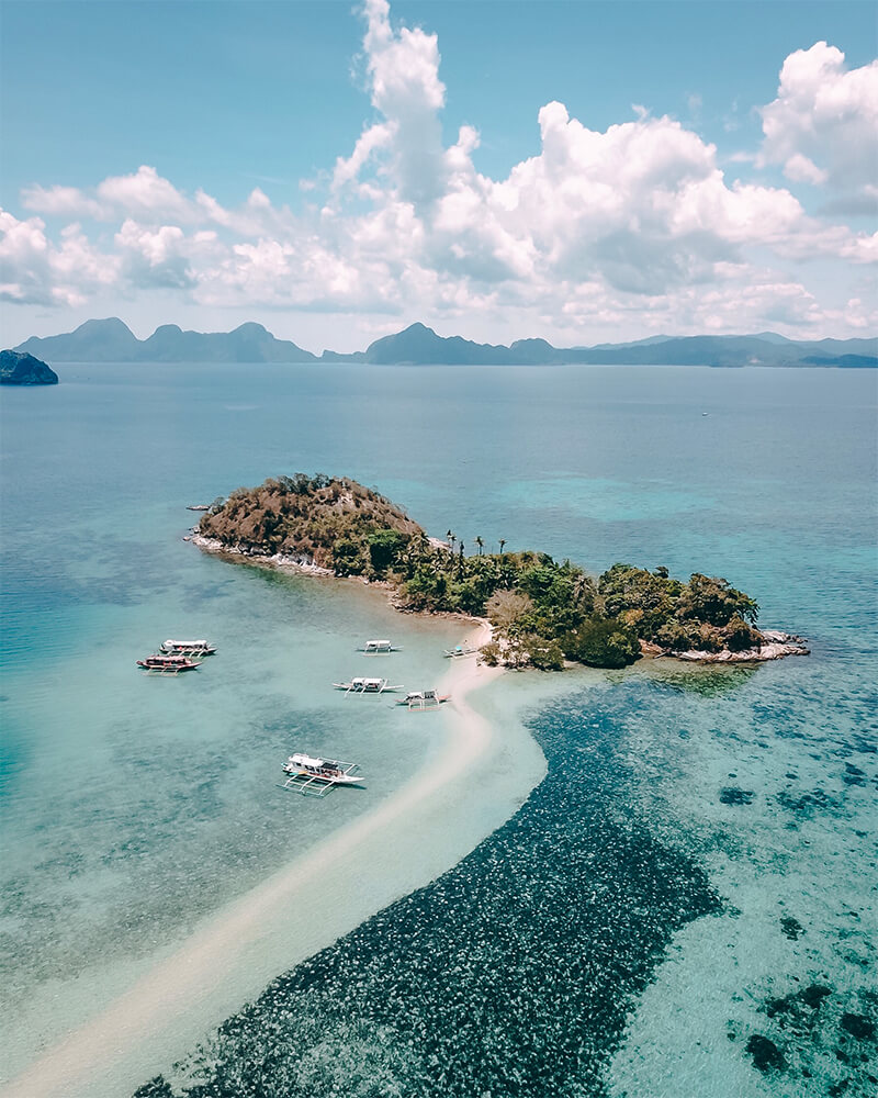 Snake island from a drone while island hopping in El Nido, philippines