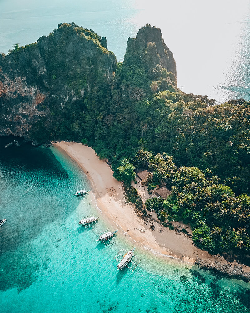 Drone shot of El Nido island, Best places to visit in March in Asia!