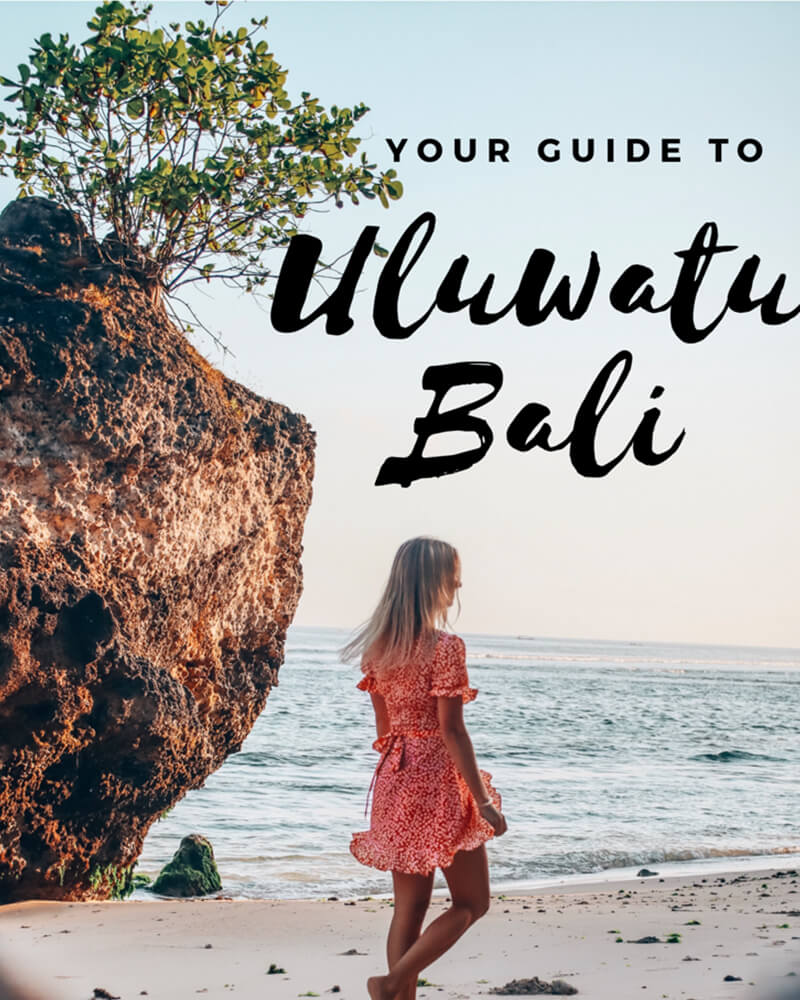 Your guide to uluwatu Bali pinterest graphic with girl on the beach - padang padang