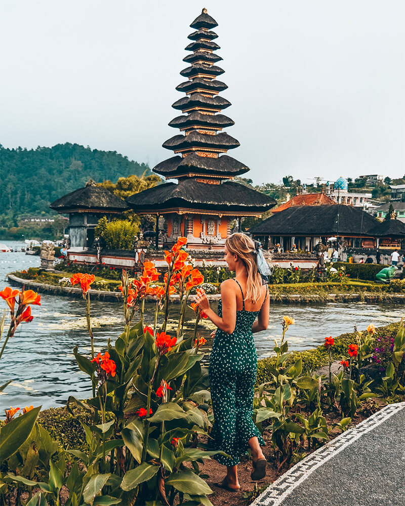 Tamblingan temple on the lake in Munduk, Bali, Indonesia