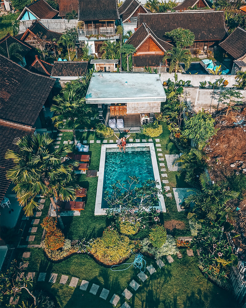 Lemon Guesthouse, view from the drone,  in Canggu, Bali, Indonesia