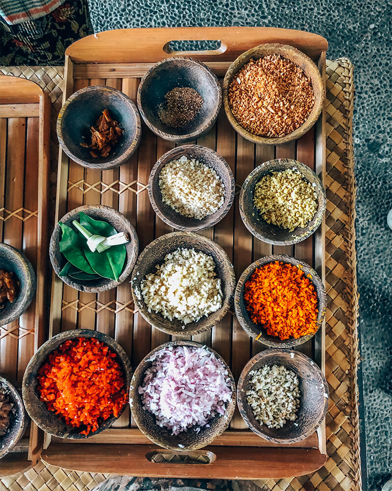 Ingredients for curry at a cooking class in Ubud, Bali, Indonesia