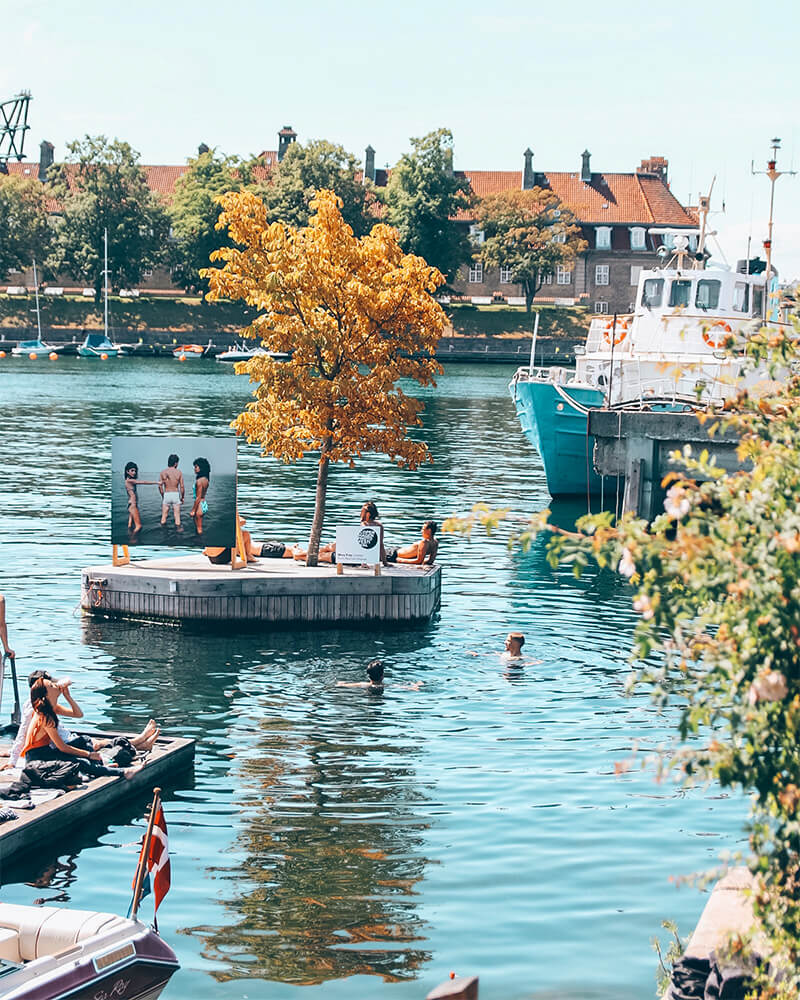 People swimming at Refshaloen area in Copenhagen