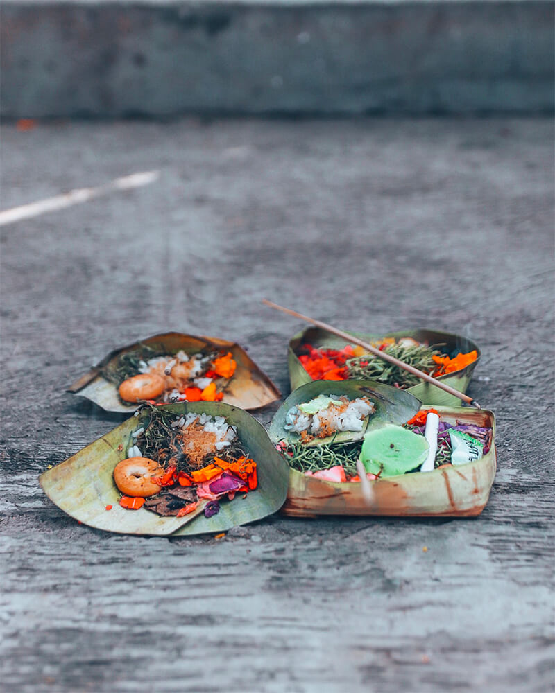 Traditional offerings to the gods,  in Canggu, Bali, Indonesia