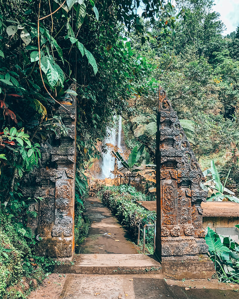 View of a traditional Balinese gate on the way to Munduk Waterfall in Bali